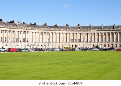 View of the Royal Crescent in Bath England - The Georgian Era Crescent is One of Bath's and the UK's Foremost Tourist Attractions