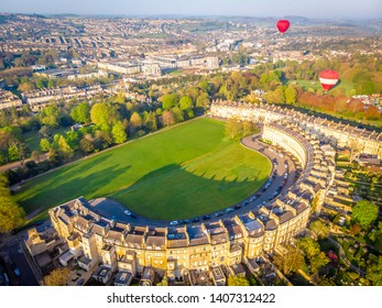 View of Royal crescent house in Bath, England