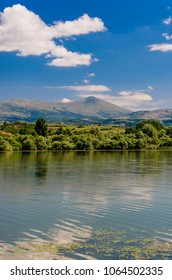 View at Rtanj mountain from the Bovan lake in Serbia