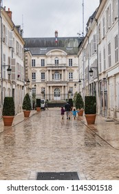 View of Rue Pothier after the rain. Pothier Street connects Burgundy Street to Cardinal Touchet Square. Orleans, France.