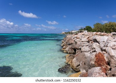 View at rugged rocky seashore at anguilla, island in caribbean sea