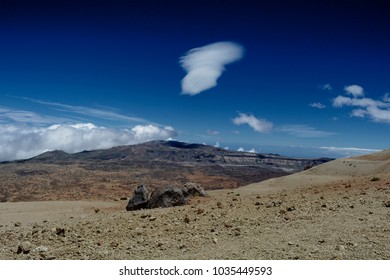 A view of rugged volcanic landscape in tenerife, Canary Islands.