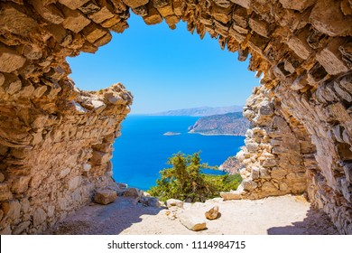 View from the ruin Monolithos Castle on Rhodes Island, Dodecanese, Mediterranean Sea, Greece