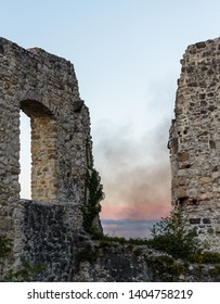 View of ruined castle atop of Tepec hill in Samobor, Croatia