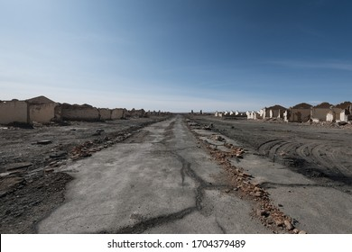 view of the ruins of the abandoned oil town, Lenghu, China