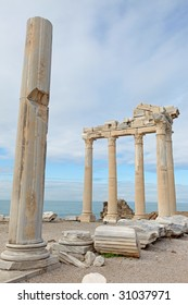 View of the ruins of Apollo Temple in Side Turkey