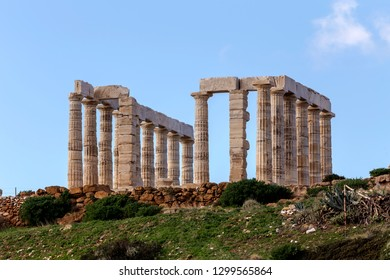 View of the ruins archaic-period temple of Poseidon on the cape Sounion (Lavreotiki municipality, East Attica, Greece).