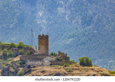 View to the ruins of Castello di Montmayeur in Aosta Valley, Italy