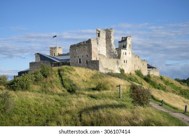View of the ruins of the castle of the Livonian order August evening. Rakvere, Estonia