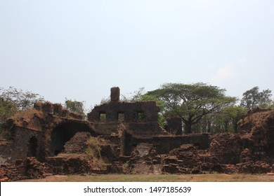 A view of the ruins of the Church of St. Augustine complex in Old Goa, India