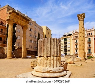 a view of the ruins of the Colonial Forum of Tarraco, in Tarragona, Spain