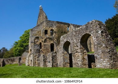 A view of the ruins of the dormitory of Battle Abbey, located in the town of Battle in East Sussex.