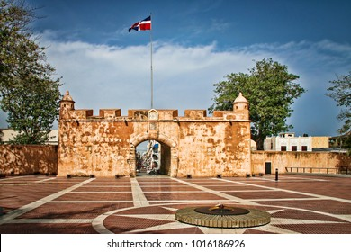 View of Ruins of Historic Colonial Era Fortress Wall (Puerta del Conde, Santo Domingo, Dominican Republic).
