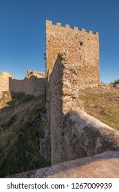 View of the ruins of the Montanchez Castle located in Caceres. Extremadura Spain