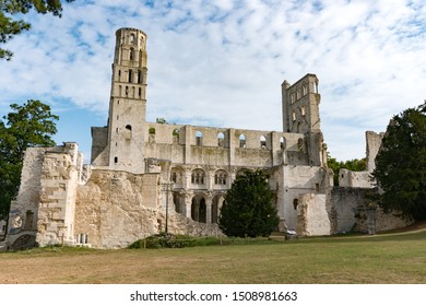 View of the ruins of the old abbey and Benedictine monastery at Jumieges in Normandy in France
