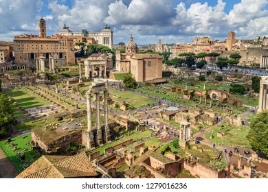 View of Ruins of Roman Forum from Farnese Garden. in Rome. Italy