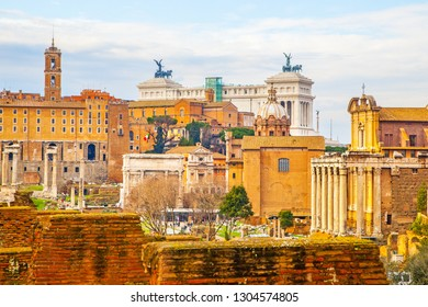 View with ruins of the Roman Forum, Rome, Italy