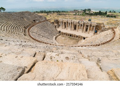 View to the ruins of theater in ancient Hierapolis, Turkey