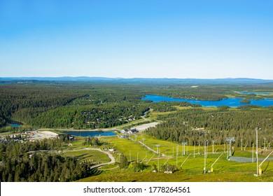 View of The Ruka skiing resort and Lake Vuosselijarvi, Kuusamo, Finland - Shutterstock ID 1778264561