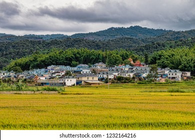 View of Rural Dai Village in Southern China. Ethnic Minority Village Surrounded by Farmland and Mountains in Distance. Village Center with Traditional Wat Temple (Xishuangbanna, Yunnan, China).
