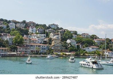 View of rural Princes Island of Kinaliada hillside with luxury residential housing on coast