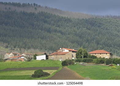 View of rural villages of the Basque country and its natural mountain environment. Euskadi, Spain