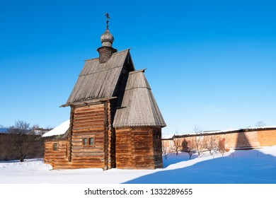 View of the russian wooden church in winter