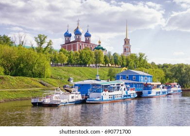 View of Ryazan Kremlin from Trubezh river. Ryazan city,  Russia