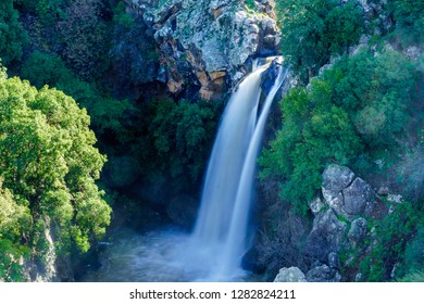 View of the Saar Waterfall, in the Golan Heights, Morthern Israel