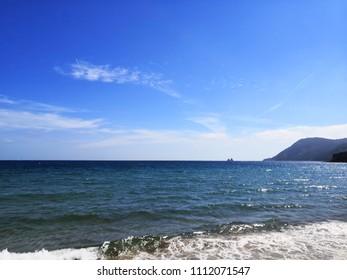 View of the Sablettes beach and Deux Frères Roc, La Seyne sur Mer