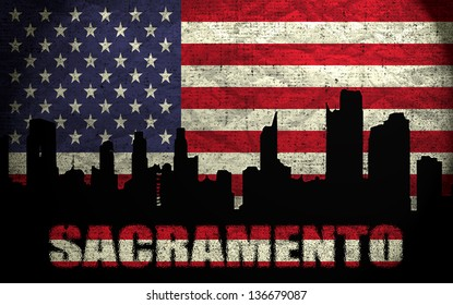 View of Sacramento City on the Grunge American Flag