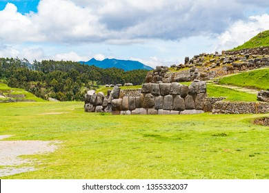 View of Sacsahuaman with a part of the stone wall at Cusco in Peru