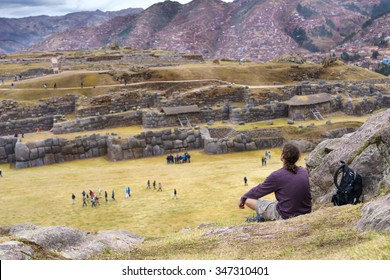 View of Sacsayhuaman ruins and Cusco city, Cusco, Peru