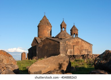 View of Saghmosavank church with big stones in front