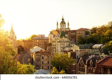 View of the Saint Andrew's Church, Podil, Kyiv. Ukraine
