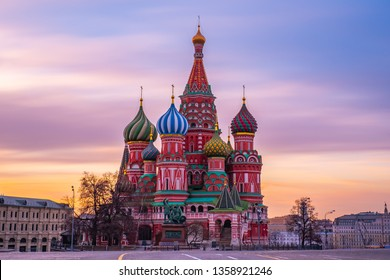 view saint basil cathedral Red square In Moscow, Russia in the morning Beautiful sky Sun rise City center landmark place meeting point