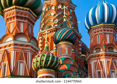 A view of Saint Basil's Cathedral in the morning with the moon on the backgraound, Red Square, Moscow, Russia