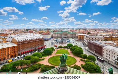 View of Saint Isaac's square and the Monument to Nicholas I in St. Petersburg, Russia.