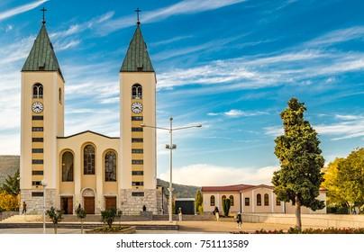 view of Saint James Church in Medjugorje, destination of pilgrims
