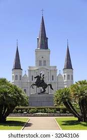 View of Saint Louis Cathedral and General Andrew Jackson statue from across Jackson Square in the French Quarter of New Orleans, Louisiana.