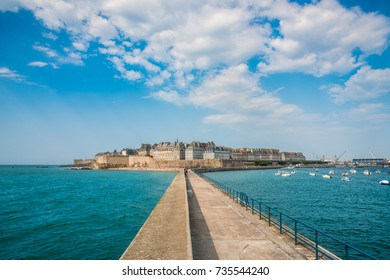 View of Saint Malo from the sea, Bretagne, France