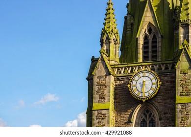A view of Saint Martin's Church's clock in Birmingham, UK