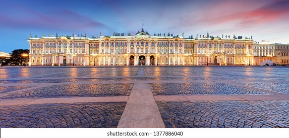 View of Saint Petersburg. Panorama of Winter Palace Square, Hermitage - Russia
