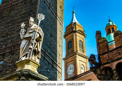 View at Saint Petronius statue in Bologna, Italy