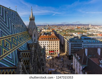 View from Saint Stephan cathedral in Vienna Austria - cityscape architecture background