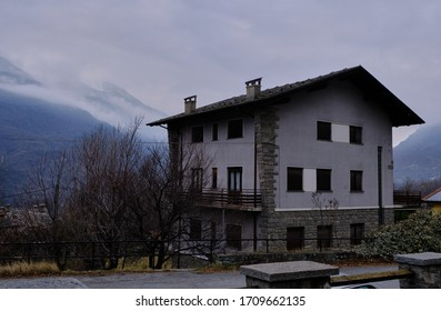 View of Saint Vincent, Aosta Valley, mountain italian city on alps