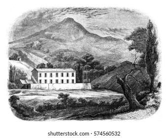 View of Saint-Martin, Napoleon's residence at Elba, vintage engraved illustration. Magasin Pittoresque 1846.