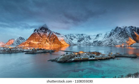 View of Sakrisoy in norway at sunrise