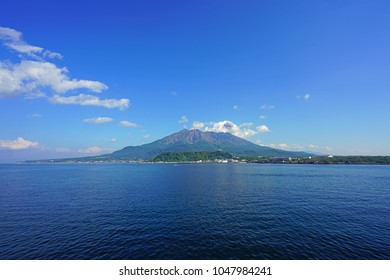 View of the Sakurajima (cherry blossom island), an active volcano seen from Kagoshima in Kyushu, Japan