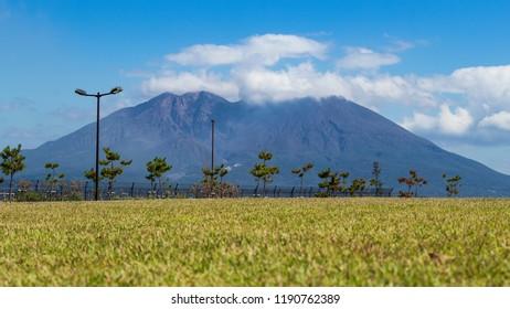 View of the Sakurajima (cherry blossom island), an active volcano seen from Kagoshima